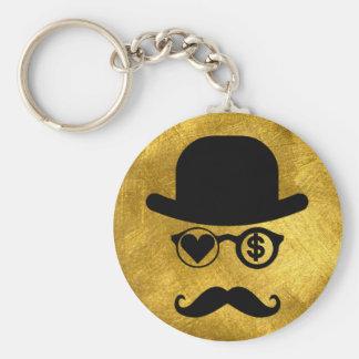 I Love Money London Mustaches Basic Round Button Keychain