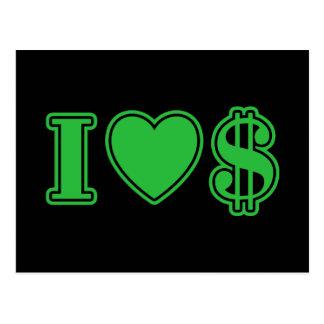 I Love Money Post Card
