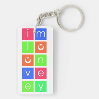 I Love Money Rectangle Keychain (Double-Sided, A)