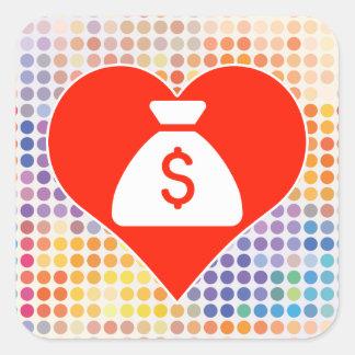 I Love Money Square Sticker