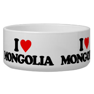 I LOVE MONGOLIA DOG WATER BOWLS