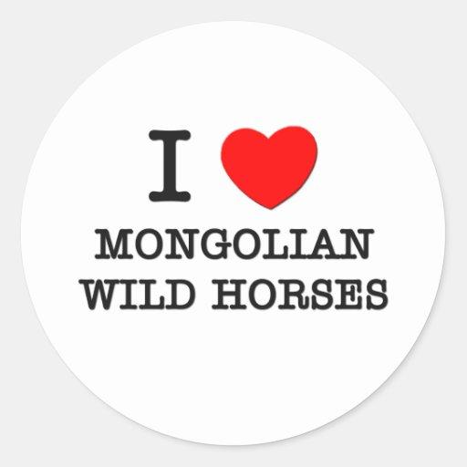 I Love Mongolian Wild Horses (Horses) Round Sticker