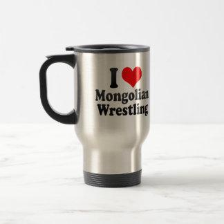 I love Mongolian Wrestling 15 Oz Stainless Steel Travel Mug