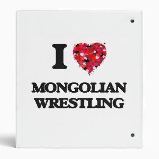 I Love Mongolian Wrestling 3 Ring Binder