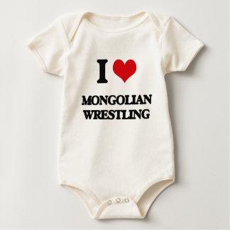 I Love Mongolian Wrestling Baby Bodysuit