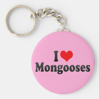 I Love Mongooses Basic Round Button Keychain