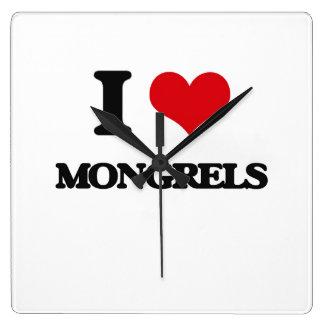 I Love Mongrels Square Wall Clock