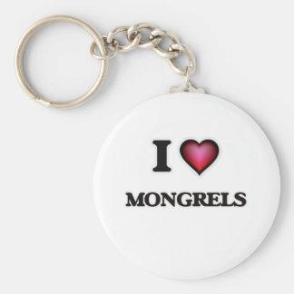 I Love Mongrels Keychain