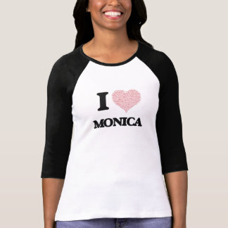 I love Monica (heart made from words) design T-shirts