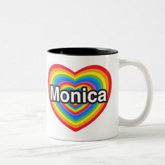 I love Monica. I love you Monica. Heart Two-Tone Coffee Mug