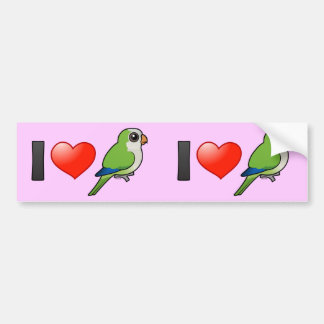 I Love Monk Parakeets Car Bumper Sticker