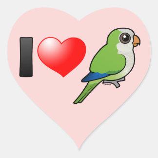 I Love Monk Parakeets Heart Sticker