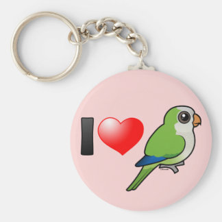 I Love Monk Parakeets Basic Round Button Keychain