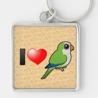 I Love Monk Parakeets Silver-Colored Square Keychain