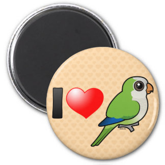 I Love Monk Parakeets 2 Inch Round Magnet
