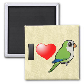 I Love Monk Parakeets 2 Inch Square Magnet