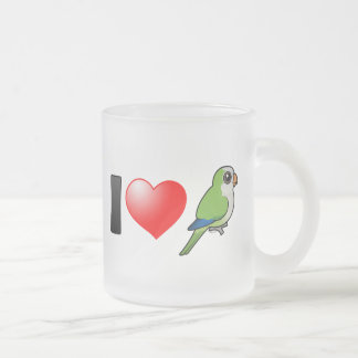 I Love Monk Parakeets 10 Oz Frosted Glass Coffee Mug