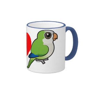 I Love Monk Parakeets Ringer Coffee Mug