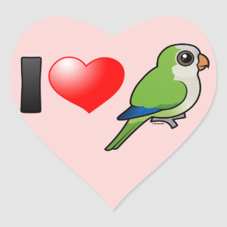 I Love Monk Parakeets Heart Sticker
