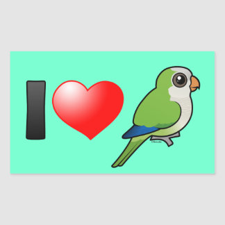 I Love Monk Parakeets Rectangular Sticker