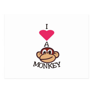 I Love Monkey Postcard