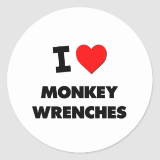 I Love Monkey Wrenches Classic Round Sticker
