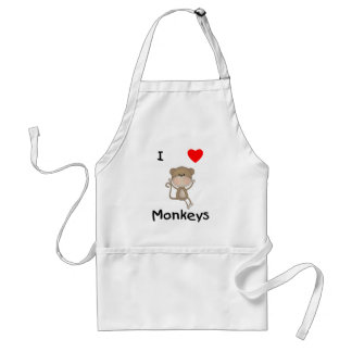 I Love Monkeys (2) Adult Apron