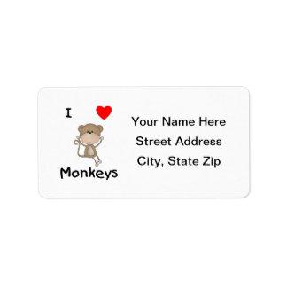I Love Monkeys (2) Address Label