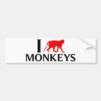 I Love Monkeys Bumper Sticker