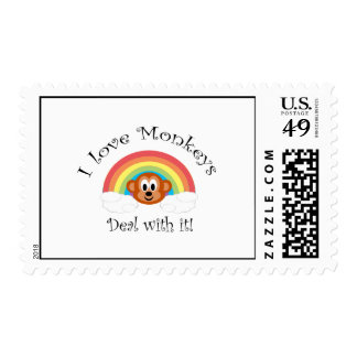 I love monkeys deal with it postage stamps