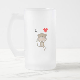 I Love Monkeys Frosted Glass Beer Mug