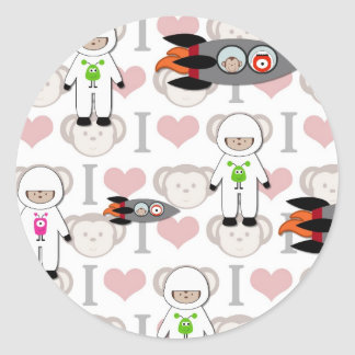 I Love Monkeys in Space Classic Round Sticker