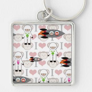 I Love Monkeys in Space Keychain