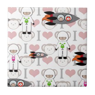 I Love Monkeys in Space Tile