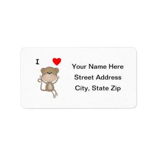 I Love Monkeys Personalized Address Label