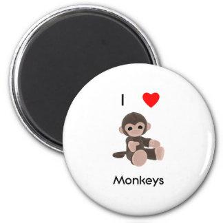 I Love Monkeys Magnet