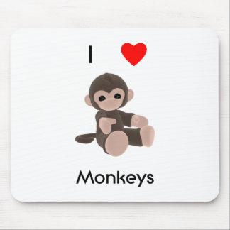I Love Monkeys Mouse Pad