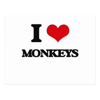 I Love Monkeys Postcard