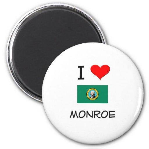 I Love Monroe Washington 2 Inch Round Magnet