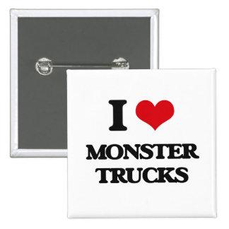 I love Monster Trucks 2 Inch Square Button