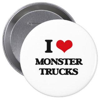 I love Monster Trucks 4 Inch Round Button