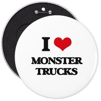I love Monster Trucks 6 Inch Round Button