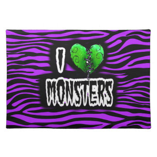 I Love Monsters Cloth Placemat
