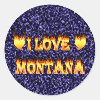 I love montana fire and flames round sticker