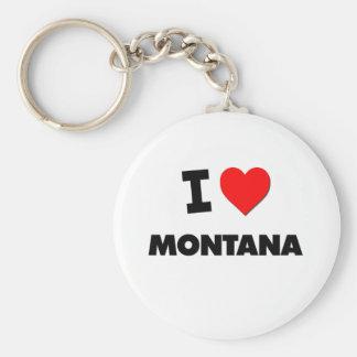 I Love Montana Basic Round Button Keychain