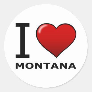 I LOVE MONTANA ROUND STICKER