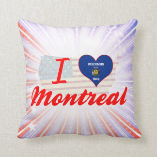 I Love Montreal, Wisconsin Throw Pillows
