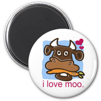 I Love Moo 2 Inch Round Magnet