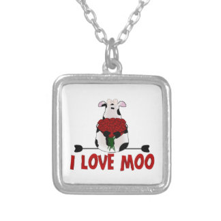 I Love Moo Silver Plated Necklace