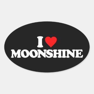 I LOVE MOONSHINE OVAL STICKER
